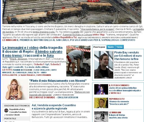 L'home page di Repubblica.it